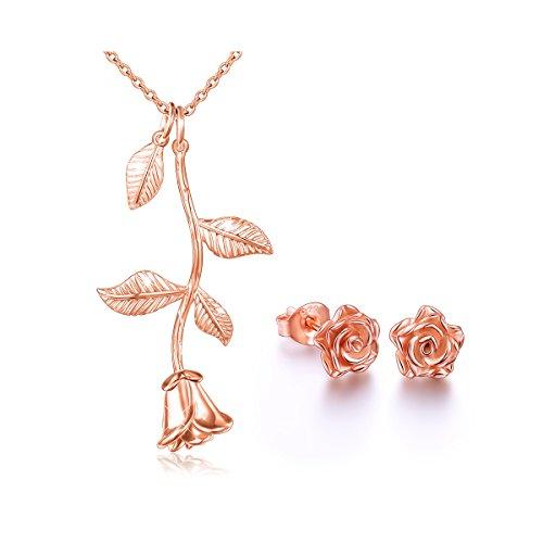 ALPHM S925 Sterling Silver Rose Flower Jewelry Sets Pendant Necklace Earrings Set for Women (Set Pendant Silver Earrings)