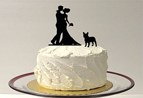 WITH PET DOG Wedding Cake Topper Silhouette Wedding Cake Topper Bride + Groom + Dog French Bulldog Corgi Pet Family of 3 Cake Topper - Silhouette French Bulldog
