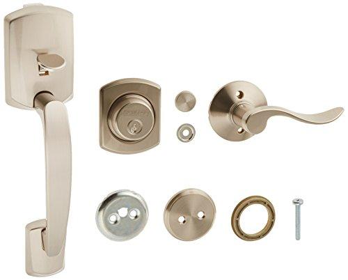 Schlage F93GRW619ACC(RH0 Greenwich Dummy Door Handleset with Accent Right Hand Interior, Satin Nickel