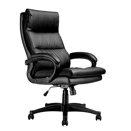 LANGRIA High-Back PU Leather Office Chair Adjustable Executive Manager Swivel Computer Chair, Modern and Ergonomic Design, Well-Padded Armrests, Knee Tilt Mechanism (Reception Leather Faux)