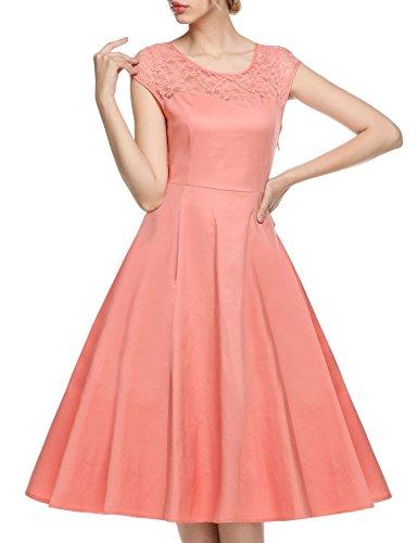 17263f3987 Teamyy Vestido de encaje de fiesta y boda para las mujeres Rosa ...