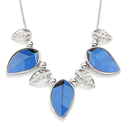 NL-07058C1 Fashionable Alloy Europe Leaf Inlaid Crystal Women Necklace