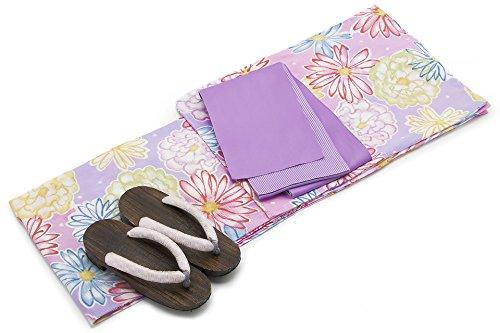 頂点爆弾合金[キスミス]レディース浴衣セット 半幅帯 薄紫 ピンク ガーベラ 牡丹 ボタン ぼたん 花 綿 紅梅織 女性
