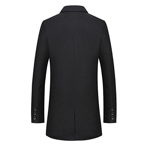HGDR New Winter Men's Woolen Coat Lapel Single-Breasted Fashion Cashmere Coat Jacket Men's Long Coat Trench Coat Windbreaker Outwear Black