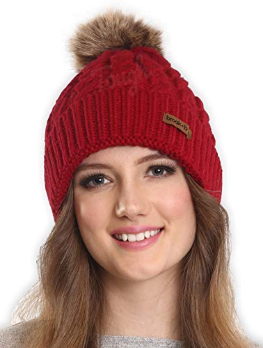 Brook + Bay Womens Faux Fur Pom Pom Beanie, Thick, Soft and Warm Cable Knit Beanie Hats for Winter, Serious Beanies for Serious Style with 7+ Colors