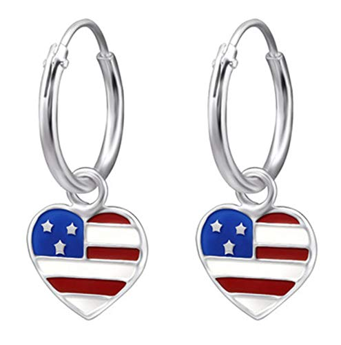 - Hypoallergenic Sterling Silver USA Flag Tiny Hoop Dangle Earrings (Nickel Free)