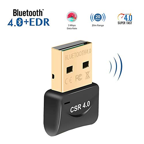 (USB Bluetooth Adapter 4.0 Low Energy Micro Adapter Bluetooth Dongle Receiver Transfer Wireless for Laptop PC Desktop Computers Compatible Windows 10 8 7 Vista XP, Stereo Headset, Mouse, Keyboards)