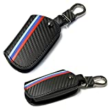 iJDMTOY M-Colored Stripe Black Carbon Fiber Pattern Leather Key Holder with Keychain for BMW 1 2 3 4 5 6 7 Series X3 Remote Fob