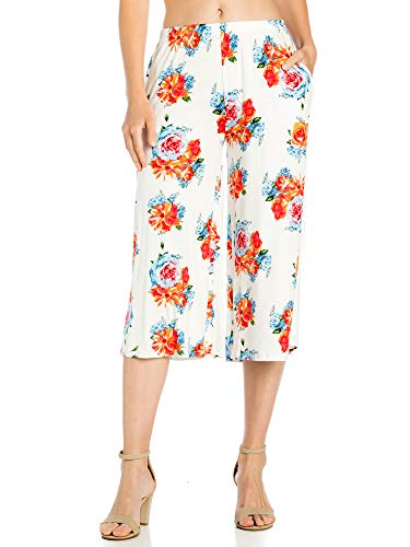 Fashion California Womens 1 Pack Flower Print Elastic Waist Culottes Capri Pants with Pockets (X-Large, White/Orange)