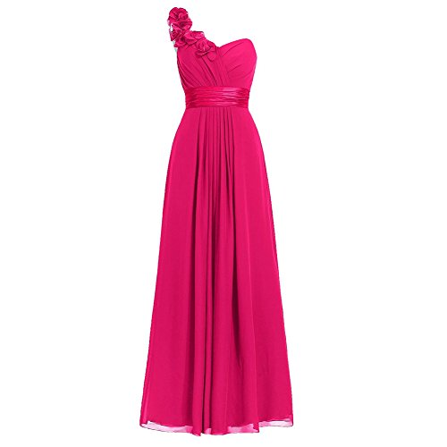 H.S.D Women's Simple Floral One Shoulder Long Bridesmaid Dresses Prom Gowns Hot Pink