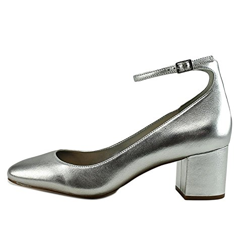 ALDO Womens Clarisse Round Toe Ankle Wrap Classic Pumps, Silver, Size 5.0