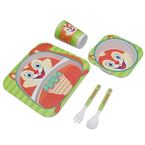 Green 2 DYNWAVE Bamboo Baby Tableware Bowl Cup Plate 5pc//Set Cartoon Tableware