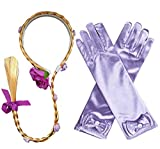 Yosbabe Princess Girls Rapunzel Long Hair Wig with Braid Gloves Dress up Accessories (Purple)