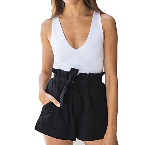 Gahrchian Short for Women High Waist Lace Up Casual Short Pants Ladies Summer Solid Beach Holiday Shorts Pocket Black