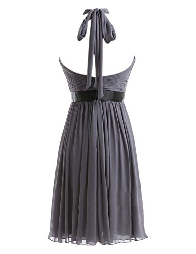 Kurz Fanciest Halter Yellow Kleider Wedding Damen Brautjungferkleider Black Chiffon Party q7tf7pr6