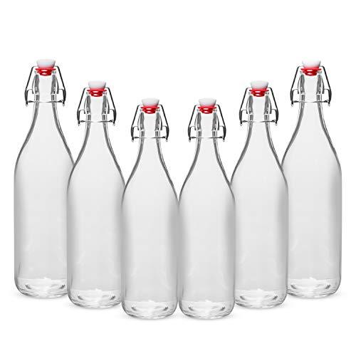 WILLDAN Giara Glass Bottle with Stopper Caps, Set of 6-33.75 Oz Swing Top Glass Bottles for Beverages, Oils, Kombucha, Kefir, Vinegar, Leak Proof Caps by WILLDAN