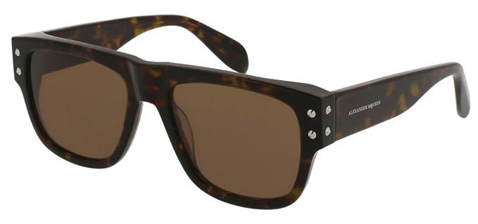 a53e600e12 Alexander McQueen AM0069S Sunglasses 004 Havana Brown Lens 54 mm at ...