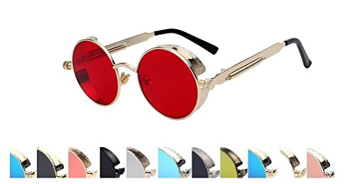 Steampunk Fashion Sunglasses NYC (D Red Gold, - Red D&g Sunglasses