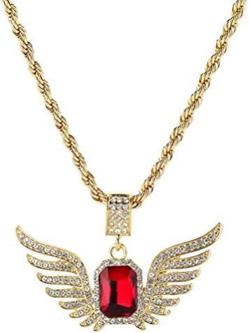 Holibanna Vleugel Ketting Rode Steen Gouden Ketting Ketting Strass Sieraden Hip Hop Rapper Accessoires