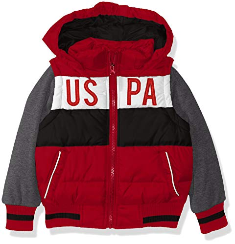 Polo Zipper Jacket - US Polo Association Boys' Toddler Bubble Vest Jacket with Fleece Sleeves, Red/Black, 3T