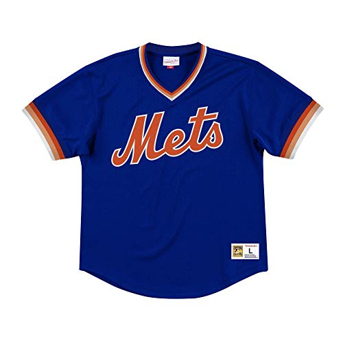 Mitchell & Ness New York Mets Men's Mesh V-Neck Jersey (X-Large) (Mitchell And Ness Jacket)