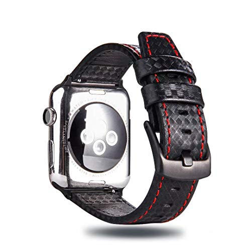 - Carbon Fiber Texture Genuine Leather Band Strap High-Gloss/Twill Weave Finish Wristband Bracelet Compatible with 40mm 38mm Apple Watch Series 4 3 2 1 (Black/Red)