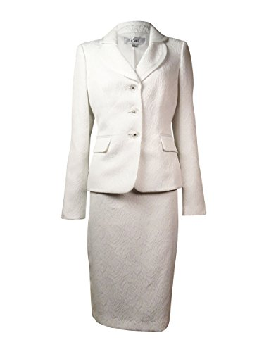 Le Suit Women's Jacquard English Garden Skirt Suit (14W, Vanilla Ice)
