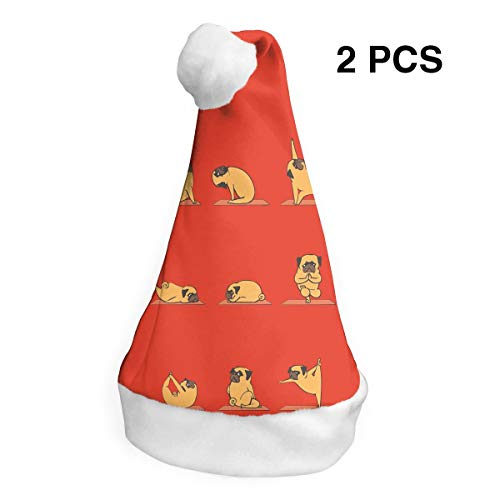 Santa Claus Hat Yoga Lovely Bulldog Merry Christmas Hats Adults Children Costume Xmas Decor Party Supplies ()