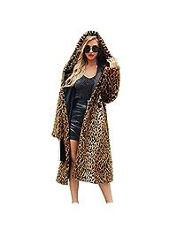 Women's Leopard Faux Fur Coat Winter Outerwear Long Sleeves Warm Jacket Hooded Sexy Overcoat, Fashionable Winter Fluffy Parka Overcoat Outwear