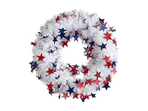 RLT-Deco Patriotic Red White and Blue, Stars and Tinsel 18 Inch Wreath for Front Door - 4th of July Independence Day Memorial Day Flag Day Veterans Day (White) ()