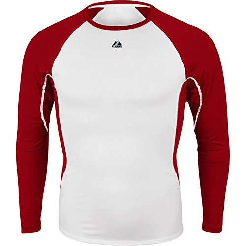 Majestic Youth Premier Warrior Fitted LS Baselayer White/Scarlet Large