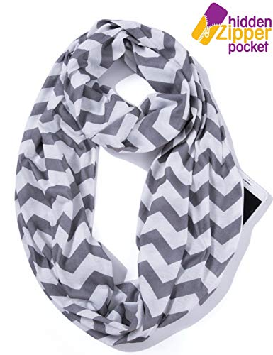 Elzama Infinity Loop Jersey Scarf with Hidden Zipper Pocket Printed Patterns for Women - Travel - Pattern Scarf Pocket