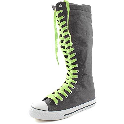 Dailyshoes Tela Donna Stivali Alti Metà Polpaccio Casual Sneaker Punk Flat, Stivali Grigi, Pizzo Verde Menta