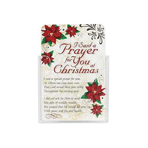 I Said A Prayer Poinsettia Red 2.5 x 4 Cardstock Christmas Pocket Card, Pack of ()