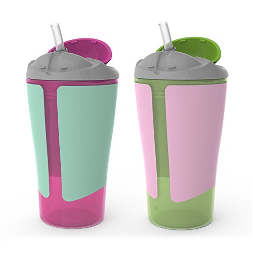 (BPA-Free Grow with Me 10 oz. Straw Cup,2 Count, Girl )