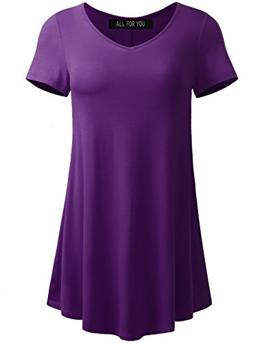 A.F.Y All For You Women's Short Sleeve V-Neck Flare Tunic Eggplant Medium