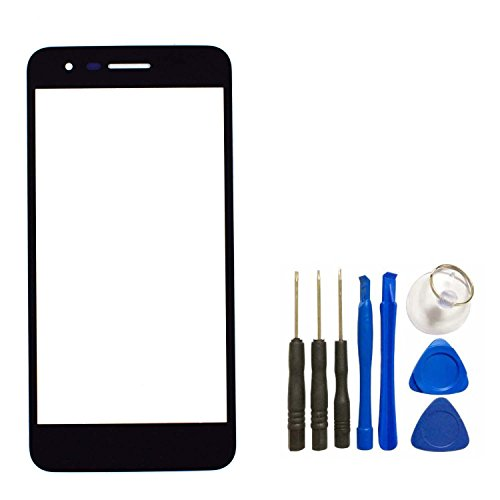 Screen Cover Replacement - Panel Lens Cover for LG Aristo 2 - Black Front Panel Outer Screen Glass Lens Replacement for LG K8 2018 SP200 LG Zone 4 LG Risio 3 LG Fortune 2 LMX210CMR with Opening Tool (Not LCD &Not Digitizer)
