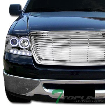 Chrome Horizontal Billet Style Front Hood Bumper Grill Grille Ford F150 -