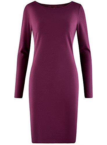 oodji Ultra Mujer Vestido de Punto Ajustado Morado (8301N)