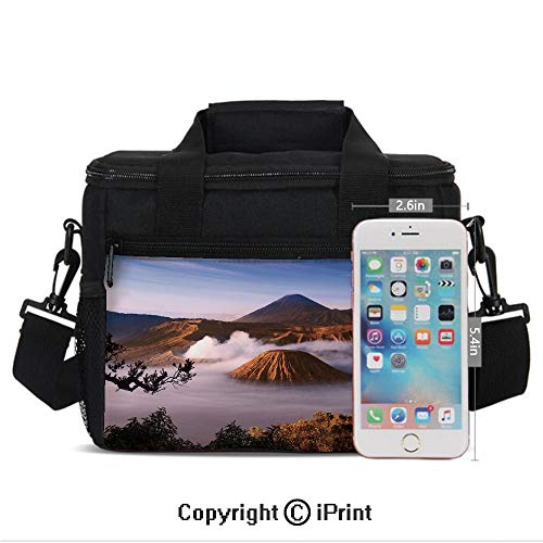 Insulated Lunch Box Mount Bromo Volcanoes Taken in Tengger Caldera East Java Indonesia Decorative Print Portable Lunch Bag Reusable Carry Boxes Cooler Tote Bag for School Work Office Picnic Gym,Light ()