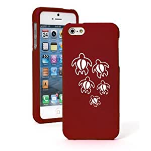 Apple iPhone 5c CH660 Red Rubber Hard Case Snap on 2 Piece Swimming Turtles