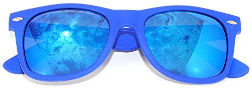 Retro Style Vintage Sunglasses Blue Frame Mirror Colorful Lens - Wayfarer Colorful Sunglasses Style