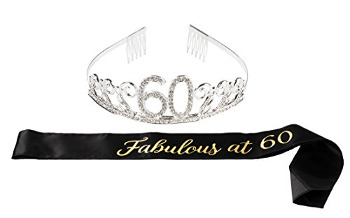 Happy Birthday Tiara and Sash Set - Rhinestone Queen Tiara with Fabulous at 60