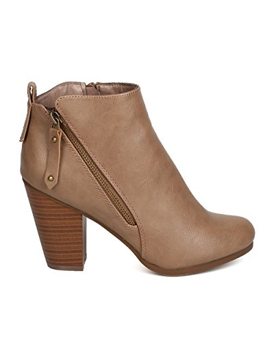 Breckelles Ga10 Donna In Similpelle Con Tacco Grosso Tacco Bootie Taupe
