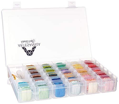 - Artesannia Cross Stitch Kit for Embroidery and Thread with Storage Box Organizer, DMC Colors, 231 Pieces in Total, Friendship Bracelet Floss with 96 Colorful String, Hand Embroidery + Free EBOOK