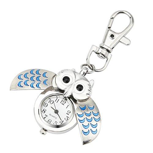 Swyss Women's Watch Sweet Cute Cartoon Keychain Owl Pocket Watch Chic Charm Accessories NEW HOT FASHION (BLUE) ()