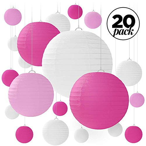 20 Pink & White Round Paper Lanterns for Weddings, Birthdays, Parties and Events - Assorted Sizes of 6