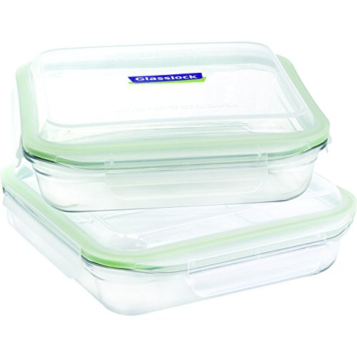 - Glasslock 4-Piece Oven Safe Bakeware Square Set, 9 by 9-Inch
