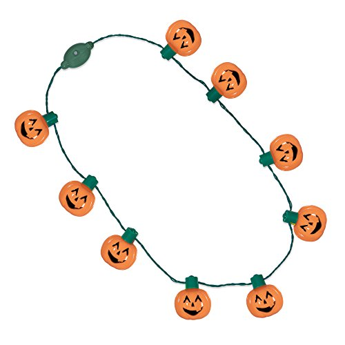 [LED Light Up Halloween Pumpkin Jack O Lantern Necklace Party Favors] (70's Costume Ideas For Kids)