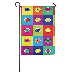 Colorful rojo labios jardín bandera banderas decorativa para interior y exteriores para desfile deportivo juego fiesta familiar pared pancarta,
